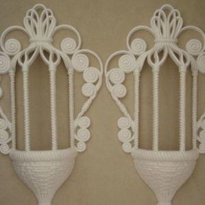 Other - Vintage 2 piece burwood plastic wall basket set